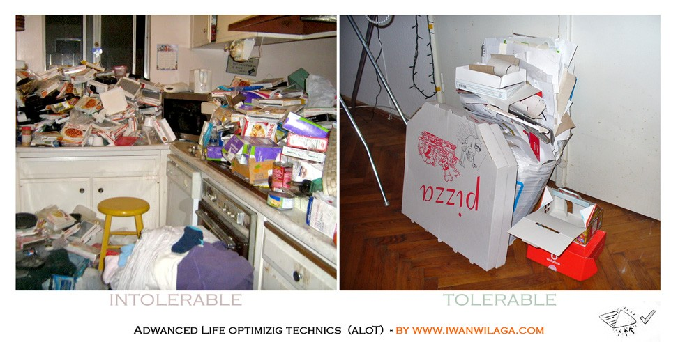 A kitchen owercrowded by pizza boxes versus a shopping bag filled with reuseable paper sheets